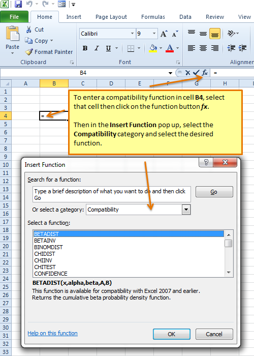 Using a Compatibility Excel function